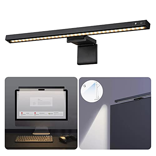 Tegik Computer Monitor Light, Screen Light Bar with 3 Color Modes, Dimmable Computer Light, USB Powered Monitor Lamps for Office/Home or Gaming Setup, Space Saving, No Screen Glare (Smart Touch)