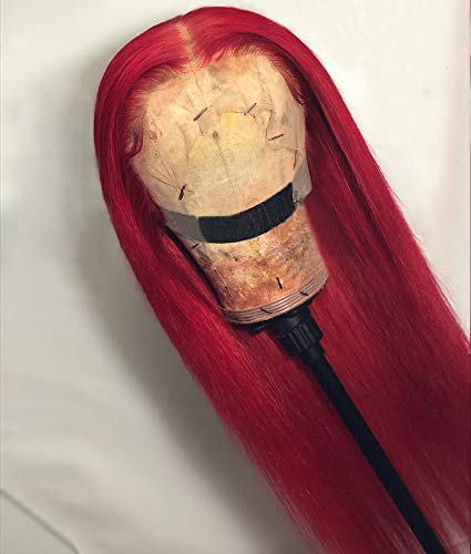 XSZM Hot Red Colored Lace Front Wigs Human Hair Pre Plucked 150% Density Glueless Silky Straight Lace Wig for Black Women Brizilian Virgin Hair T-Middle Deep Part Hairline Wigs With Baby Hair,24 Inch
