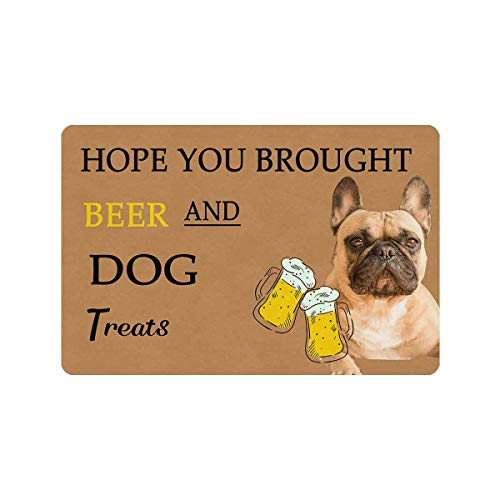 MyPhotoSwimsuits Personalized Custom Dog Doormat 24' X 16' Indoor Outdoor with French Bulldogs Entrance Door Mat Rug Decor Hope You Brought Dog Treats