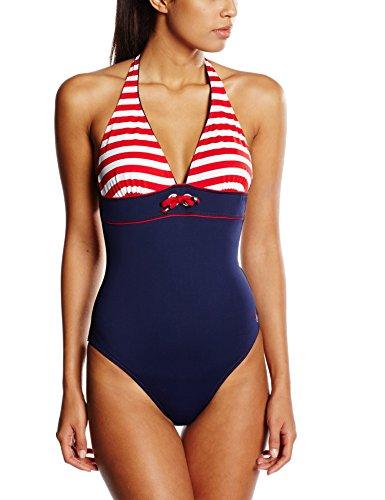 Haute Pression Damen Badeanzug, Gestreift, Gr. DE 38 (Herstellergröße : 40), Marine - Marine (Rayé Rouge)