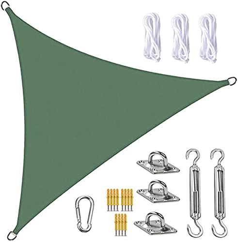 Tela Toldo Sun Shade Sail Canopy Triangle UV Block Impermeable Sol Sombra Toldo con Kit De Fijación para Jardín Patio Piscina área De Barbacoa Verde Oscuro(Size:5X5X5m/16.4X16.4X16.4ft)