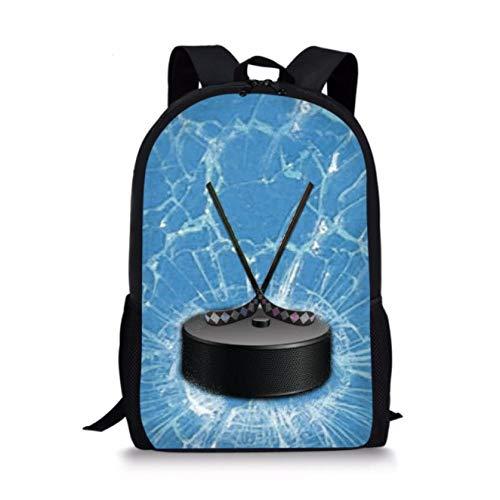 Ball Sports Hockey Pattern Printed School Bags, Backpacks School Bags for Teenagers Canvas Backpack