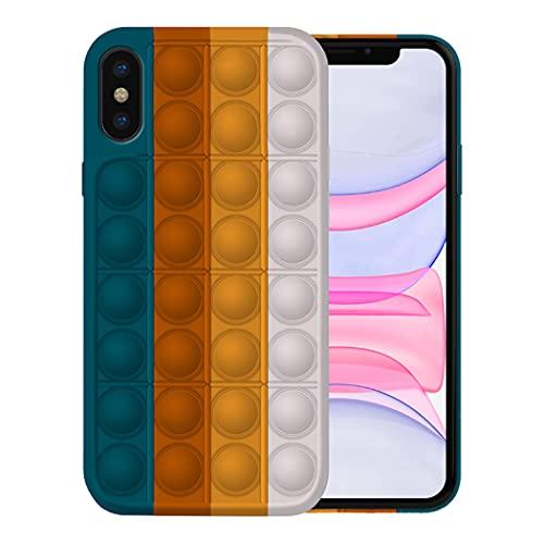 Pop It Fidget Toy Funda para iPhone X Fundas XS Carcasa XS MAX Apple,Fidget Toy Pack iPhone X Carcasa XS Funda XS MAX Case Silicona Antigolpes Pop It Fidget Toys Set Case (iPhone XS, 6)