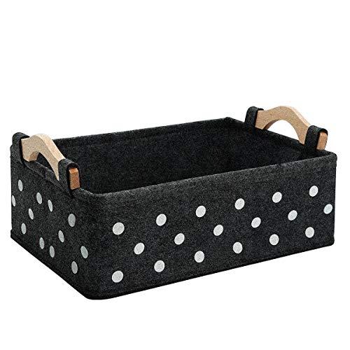 Decorative Basket Small Decor Baskets Gift Baskets Empty Modern Felt Storage Bins Dark Grey Storage Cubes Fabric Bin Narrow Storage Basket