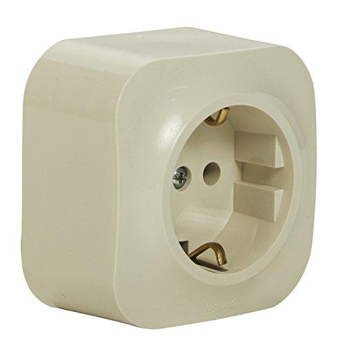 Legrand 782441forix Cuadro De Enchufe (de 1Compartimento), 2pines con protección de contacto para montaje en la pared, almendra de color blanco