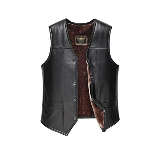 ZRJ Soft Mens Leather Vest Flannel Lined Vest Jacket Sleeveless Winter Body Warm Coat Hunting Work Vest Fishing (Color : Black, Size : X-Large)
