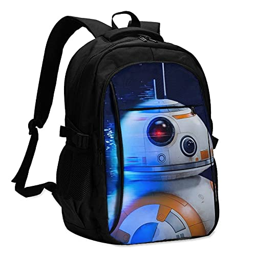 Travel Laptop Water Resistant Anti-Theft Backpacks with USB Charging Port and Lock for Men Women Star Wars R2-D2