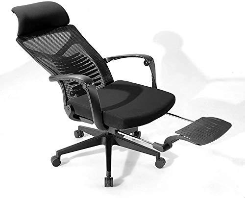 Los reposapiés, Silla de oficina, silla ergonómica de escritorio de malla de espalda alta con reposabrazos, silla de computadora, altura ajustable, con soporte para la cabeza y reposapiés retráctil (c