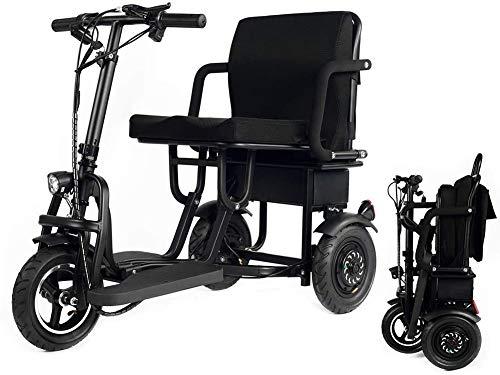 EDTXN Zusammenklappbarer Elektromobil Mit Motorrollung,Tragbarer Roller Mit 3 Rädern Leichter Elektrorollstuhl Unterstützung 280 Lbs Nur 58 Lbs Große Reichweite