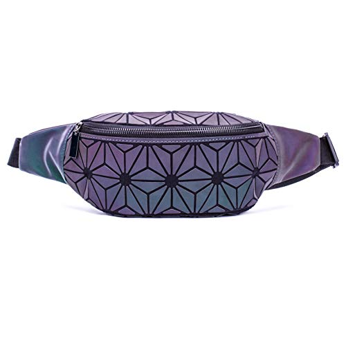 Suuran Holographic Rave Fanny Pack Geometric Waist Bag for Women&Men, Travelling Luminous Belt Bum Bag Iridescent Chest Bag for Festival, Running, Sports, Travelling- NO.2