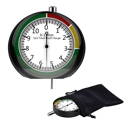 YANSHON Reifendruckprüfer, Profiltiefenmesser mit Messbereich 0-11 mm Tiefenmesser mit Zifferblatt für Reifenwartung Reifenmessung für Auto, Motorrad, LKW, SUV, Bike, Motorrad