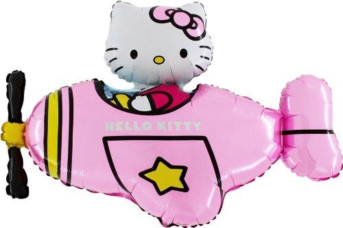 37 'Hello Kitty en globo de la hoja rosa helicóptero - inflar con aire/helio)