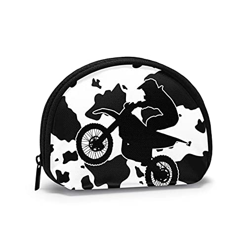 Bolsas de almacenamiento portátiles para motocicleta todoterreno con patrón de vaca para viaje, para mujeres, niña, monedero, monedero, monedero, monedero pequeño