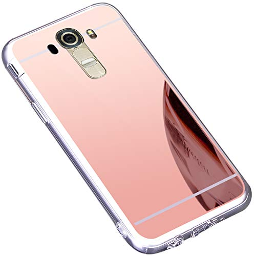 Funda LG G4,Carcasa Protectora [Trasera] de [Tpu] para Móvil En [Con Efecto Espejo] Ultra-Delgado Caras Cubierta Caso Espejo Funda Case Cover para LG G4,Oro Rosa