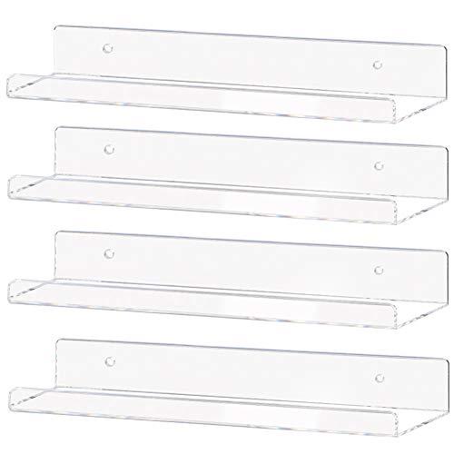 Weiai Clear Acrylic Shelf 15' Invisible Floating Wall Ledge Bookshelf, Kids Book Display Shelves...