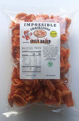 Spicy Bacon Vegan Snacks, Plant Based, Impossible Vegan Cracklings snacks, Keto Snack, Low Carb Snack, Low Calories Snack, Vegan Chicharron, Meatless Snacks, Vegan Cracklings, Healthy Snacks