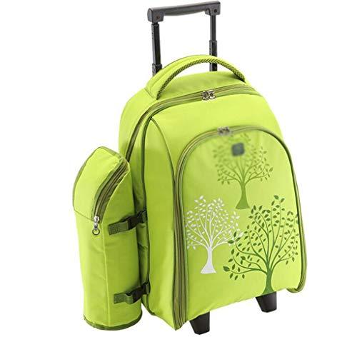 Conjunto de Equipos de Bolsa de Picnic al Aire Libre portátil, Bolso de Picnic de la Carretilla con vajilla de Bolso de Picnic para Cuatro Personas (Color : Light Green, tamaño : 33 * 25 * 45cm)