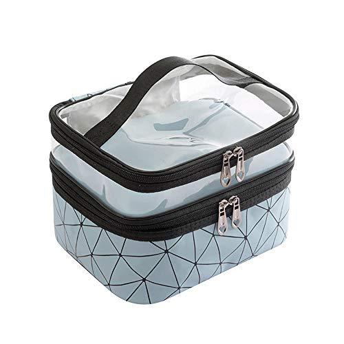 Wangxin® Cosmetic Bag One Pack Double Usage Double Top Et Bottom Femmes Ins Petit Style Portable Simple Sac De Lavage De Grande Capacité Sac Cosmétique Voyage Blue