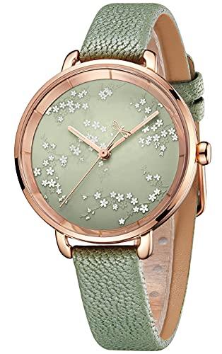 CIVO Reloj de pulsera para mujer, resistente al agua, analógico, de cuarzo, de piel, minimalista, para mujer o niña, moda informal, 4 verdes.,