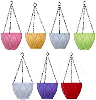 Go Hooked Unbreakable Plastic Round Hanging Pots for Plants, Hanging Planters with Metal Hanging Chain - Pack of 7 (9x6.7 ...