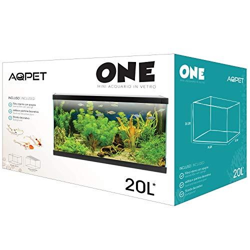 AQPET One Mini Acquario in Vetro Colore Nero 20 Litri Completo di Accessori 36x22x26h