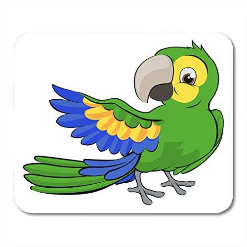 Preisvergleich Produktbild Mauspads Blau Clipart Niedlich Cartoon Papagei Maskottchen Charakter Pointing Wing Mauspad für Notebooks,  Desktop-Computer Matten Büromaterial