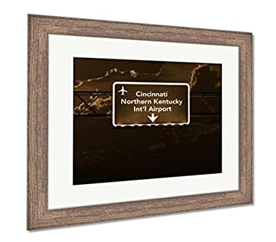 Ashley Framed Prints Cincinnati Northern Kentucky USA Airport Highway Sign At Night, Wall Art Home Decoration, AG6115159