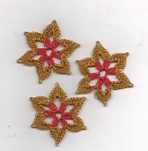Schneesterne-Weihnachtssterne-8er Set-zweifarbig-rot/gold