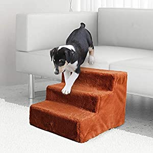 LESYPET Dog Steps for Bed Couch, Portable 3-Step Pet Steps for Small Dog Cat Small Indoor Dog Step, Assemble