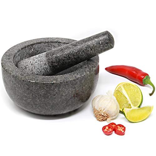 Maison & White Großer Mörser und Stößel Set - 16cm Durchmesser | Premium Durable Solid Granit | Grey Stone Gewürz- & Kräutermühle