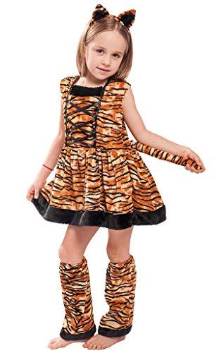 MOMBEBE COSLAND Mädchen Kostüm Tiger Kleid Set Karnavel (Tiger, XL)