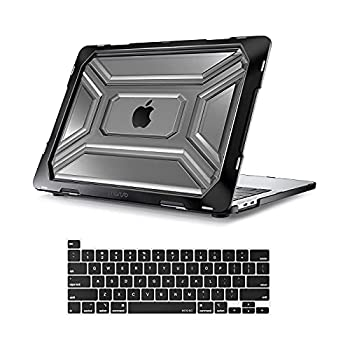 MOSISO Compatible with MacBook Pro 13 inch Case 2020 Release A2338 M1 A2289 A2251 with Touch Bar Touch ID Protective Heavy Duty Plastic Hard Shell Case with TPU Bumper & Keyboard Cover Black
