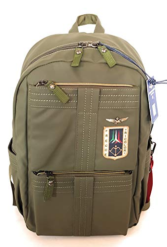 dielle manifatture srl Aeronautica Militare Arrow Line Backpack Holder in Technical Fabric rubberized Green AM-345 31x45x18 cm