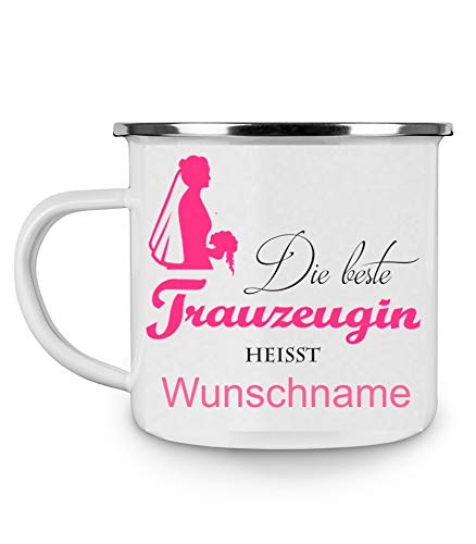 Crealuxe Emailletasse m. Wunschname Die Beste Trauzeugin heißt (Wunschname) - Kaffeetasse mit Motiv, Bedruckte Tasse mit Sprüchen oder Bildern