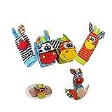 Wicemoon Rasselarmband und -socken für Babys, in verschiedenen Ausführungen, mit Glocke, aus Plüsch, 4 Stück