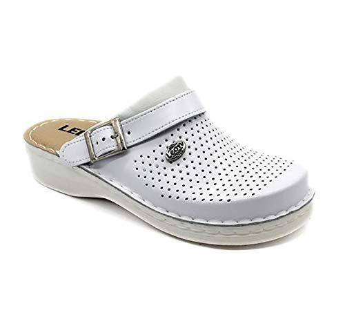 LEON V202M Zuecos Zapatillas Zapatos de Cuero Hombre, Blanco, EU 43