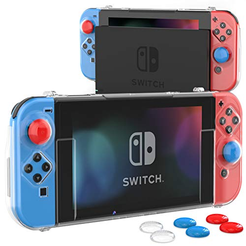 HEYSTOP Case Compatible with Nintendo Switch Dockable Switch Cover Protective Case with Screen Protector and Thumb Stick Caps