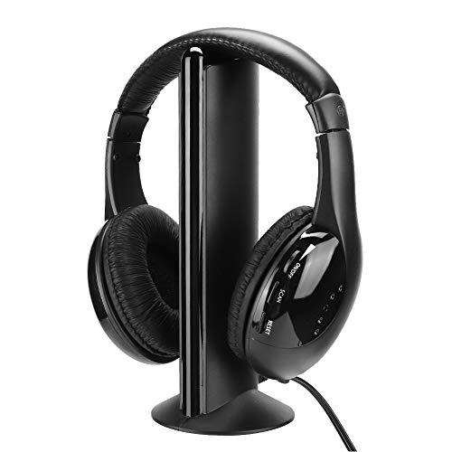 ASHATA Auriculares inalámbricos para Ver televisión con Base transmisora, Auriculares FM estéreo de 3,5 mm para Colocar sobre la Oreja con micrófono, para TV, PC, DVD, VCD, estéreo, MP3, etc.