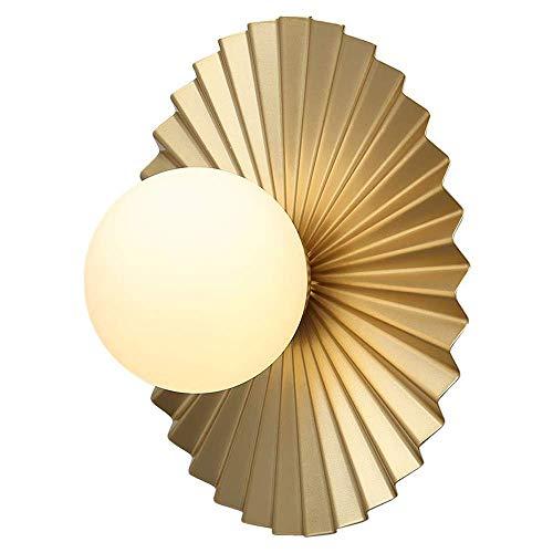 ZJDK Gold Metallbett Seitenwandleuchte Modernes stilvolles Schlafzimmer Dekorative Wandleuchte Design Welligkeit Runder Glaslampenschirm Wohnzimmer Arbeitszimmer Küche Flur Treppe Innenbeleuchtun