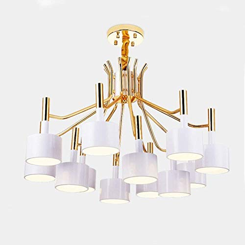 Masoser Nordic Iron kroonluchter verlichting, 15 lampen, plafondlamp, zwart en goud gelakt huishoudverlichting