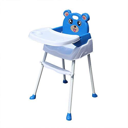 Trona para Bebes,4 en 1 Silla plegable para bebé con bandeja para el cinturón de seguridad convertible en Sillita de 6 meses a 3 años (azul)