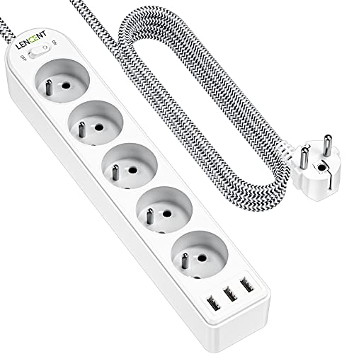 LENCENT Bloc Multiprise 3 Ports USB Chargeur et 5 Prises 16A 4000w avec Interrupteur, Tressé Câble 2 m, Multiprise Electrique pour la Maison Le Bureau ou la Cuisine, Blanche