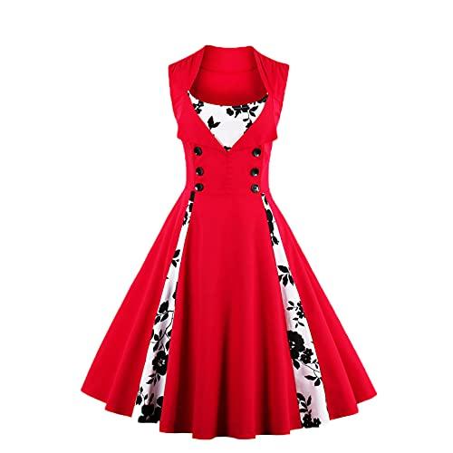 Damen Stitching Kontrastfarbe Big Swing Rock Retro Kleid