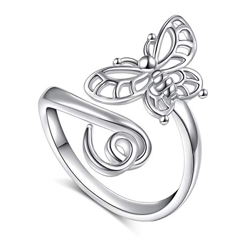 Flyow 925 Sterling Silver Jewellery Adjustable Open Animal and Heart Rings for Women and Girls (Butterfly)