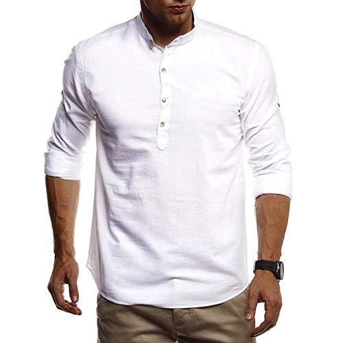 echo4745 Männer England-Stil Longshirt Polohemd Casual Kurzarmhemd Herren Businesshemd Atmungsaktives Freizeitjacke Jungen Baumwollmischung Bluse Tops(XXL,Weiß)
