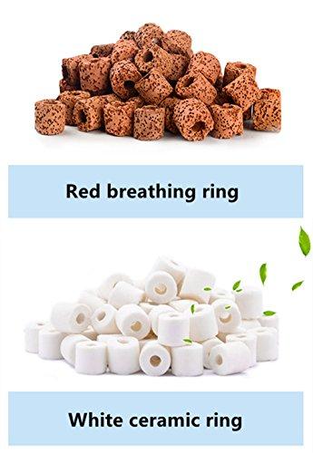 Anelli di filtrazione ceramici organici per tutti i tipi di acquari e bacini 950 g (bianco 500 g + rosso 450 g)