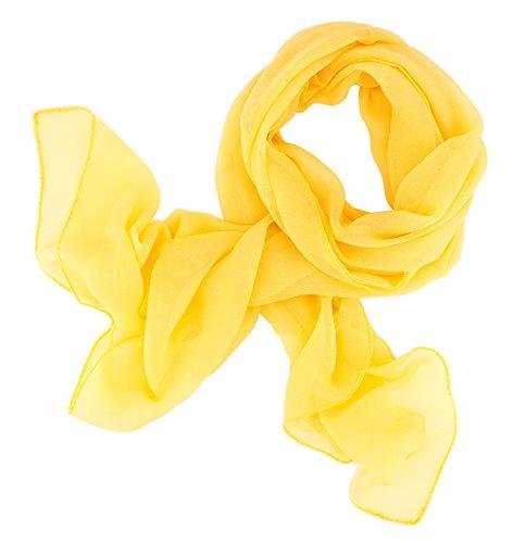 Dolce Abbraccio Damen Schal Stola Halstuch Tuch aus Chiffon für Frühling Sommer Ganzjährig Sonnengelb Gelb