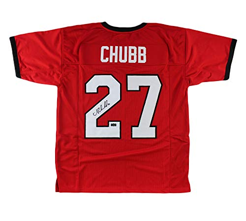 Nick Chubb Autographed/Signed Georgia Custom Red Jersey