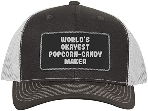 World s Okayest Popcorn Candy Maker Leather Black Patch Engraved Trucker Hat Grey White One product image
