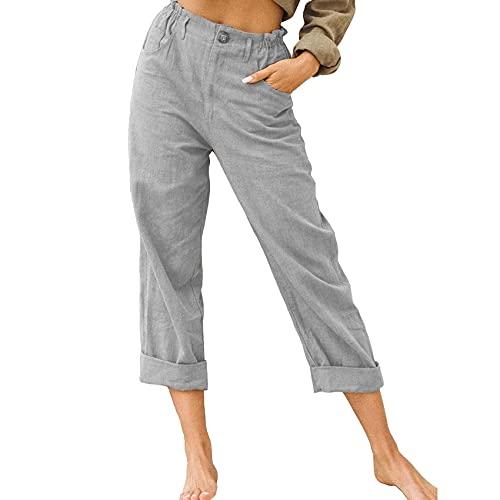 Moda Simple para Mujer Color SóLido AlgodóN Y Lino Moda Suelta Cintura Alta Pantalones Casuales Mujeres